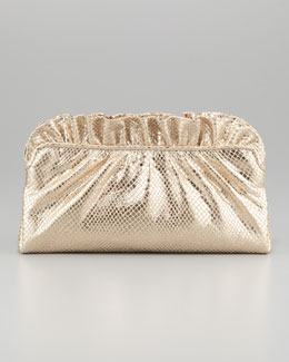 Lauren Merkin Georgie Python-Embossed Ruffle-Top Clutch Bag, Pale Gold