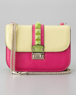 Valentino Glam Lock Colorblock Small Flap Bag, Soft Yellow/Pop Fuchsia