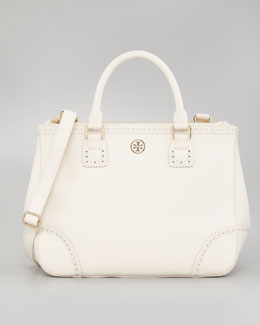 Tory Burch Robinson Double-Zip Tote Bag, White