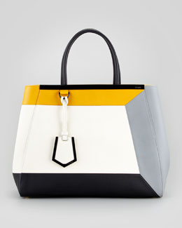 Fendi 2Jours Colorblock Calfskin Medium Tote Bag