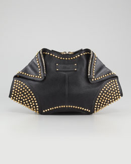 Alexander McQueen Studded De- Manta Leather Clutch