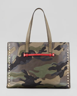 Valentino Rockstud Camo-Print East-West Tote Bag
