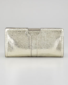 Milly Iris Framed Metallic Clutch Bag, Gold