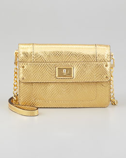 Milly Emma Embossed Metallic Mini Bag, Gold