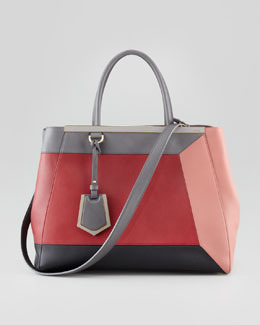 Fendi 2Jours 3D Vitello Colorblock Medium Tote Bag