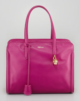 Alexander McQueen New Padlock Medium Satchel Bag, Pink