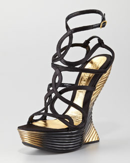 Alexander McQueen Wave Strappy Wedge Sandal