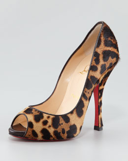 Christian Louboutin Maryl Leopard-Print Calf Hair Peep-Toe Red Sole Pump