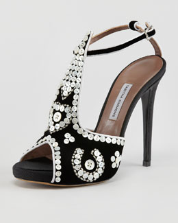 Tabitha Simmons Mayfair Button-Covered T-Strap Sandal
