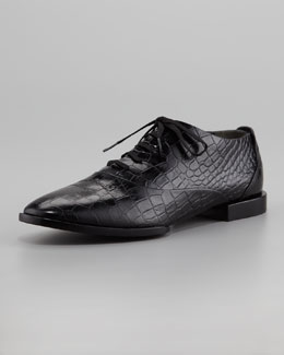 Alexander Wang Ingrid Crocodile-Embossed Oxford, Black