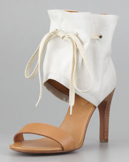 See by Chloe Ruched Ankle-Cuff Sandal, Cream