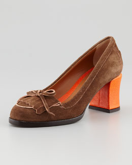 Fendi Austen Suede Loafer Pump, Brown/Orange