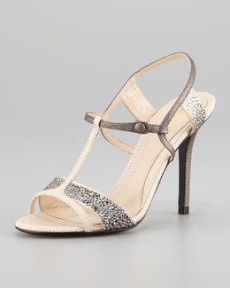 Fendi Crystal-Covered T-Strap Sandal