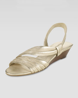 Cole Haan Air Natalie Low-Wedge Leather Sandal, Soft Gold