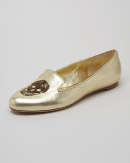 Alexander McQueen Embroidered Sequined Skull Smoking Slipper, Gold