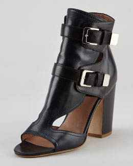 Laurence Dacade Doony Buckled Peep-Toe Bootie, Black