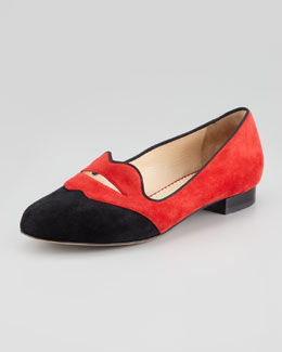 Charlotte Olympia Bisoux Suede Lip-Detail Smoking Slipper
