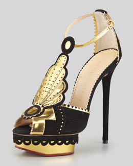 Charlotte Olympia Sunset Art Deco T-Strap Sandal, Black/Gold
