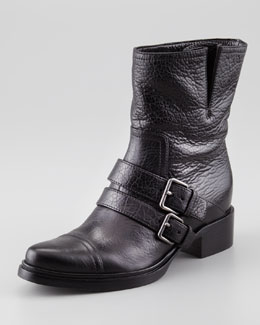 Miu Miu Double-Buckle Motorcycle Boot, Black