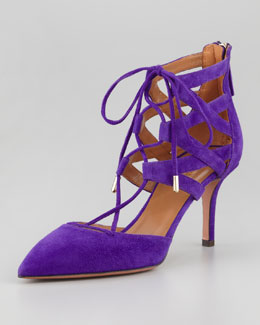 Aquazzura Belgravia Lattice Suede Sandal, Purple