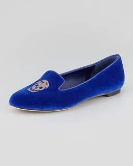 Alexander McQueen Embroidered Skull Smoking Slipper, Royal Blue