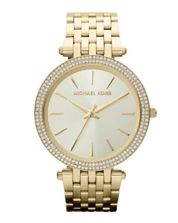 Michael Kors  Mid-Size Golden Stainless Steel Darci Three-Hand Glitz Watch