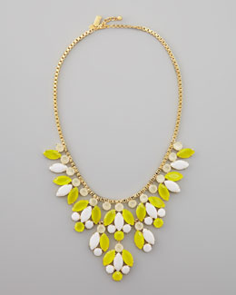 kate spade new york crystal-bib necklace, yellow