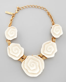 Oscar de la Renta Resin Flower Necklace, Ivory