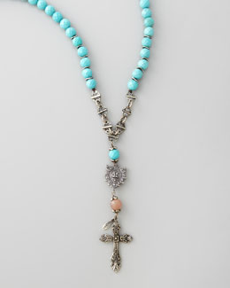 Love Heals Long Beaded Cross Necklace, Turquoise