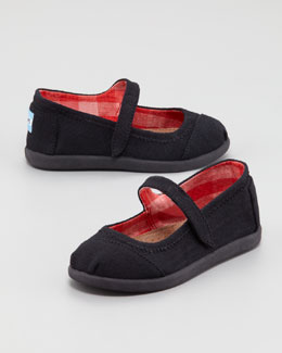 TOMS Canvas Mary Jane Slip-On, Black, Tiny