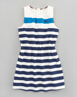 Burberry Bold Stripe Terry Dress, Ink Blue