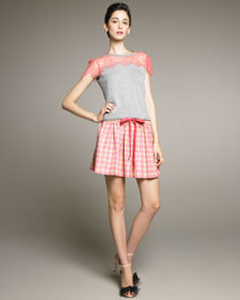 RED Valentino Drawstring Houndstooth Skirt