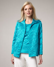 Caroline Rose Crushed Satin Jacket