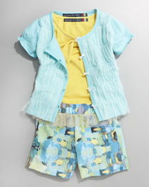 Millions of Colors Mesh-Front Short-Sleeve Cardigan