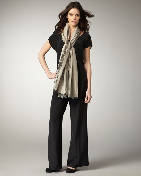 Black Boxy Silk Top, Women's