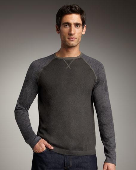 Long-Sleeve Cashmere Baseball Tee, Light Gray