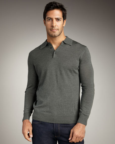 Long-Sleeve Wool-Blend Polo, Blue