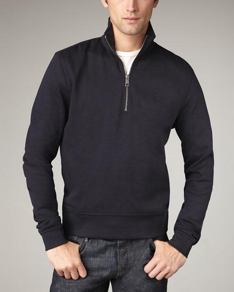 Half-Zip Pima Sweater, Pale Gray Melange