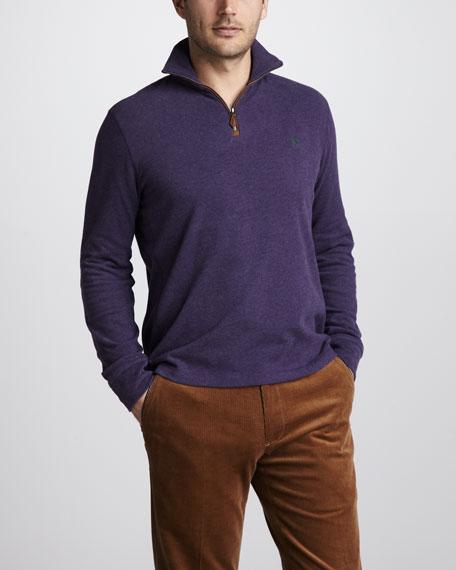 Quarter-Zip Jersey Sweater, Guild Purple Heather