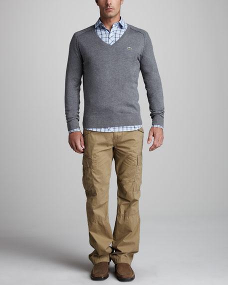 Cotton-Cashmere Raglan Sweater, Tannic Purple
