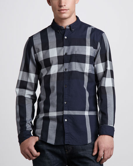 Check Button-Down Shirt, Navy