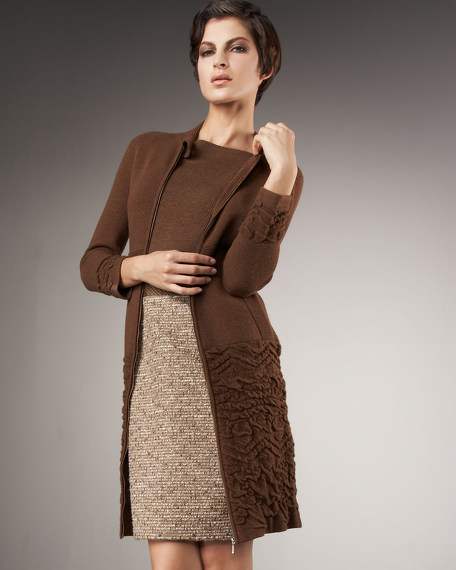 Puckered Knit Coat