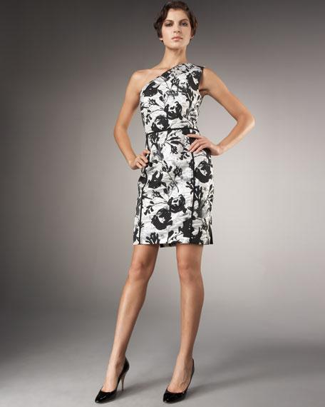 One-Shoulder Brocade Dress