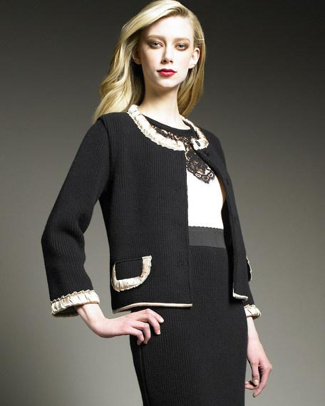 Snap-Front Knit Jacket