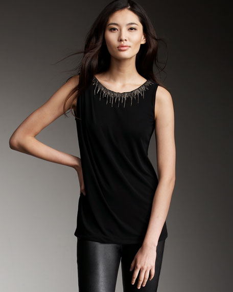 Metallic-Neck Sleeveless Top