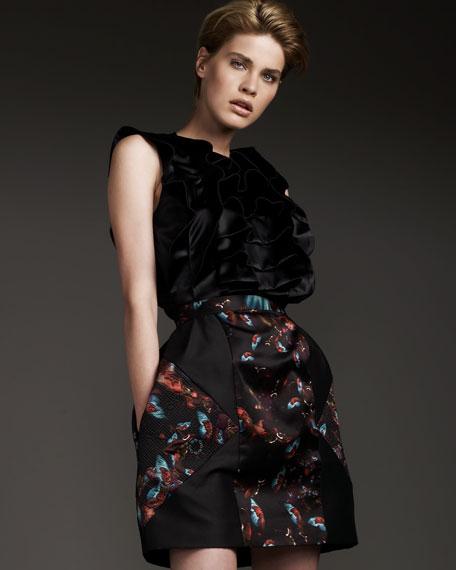 Erdem Embroidered-Side Skirt