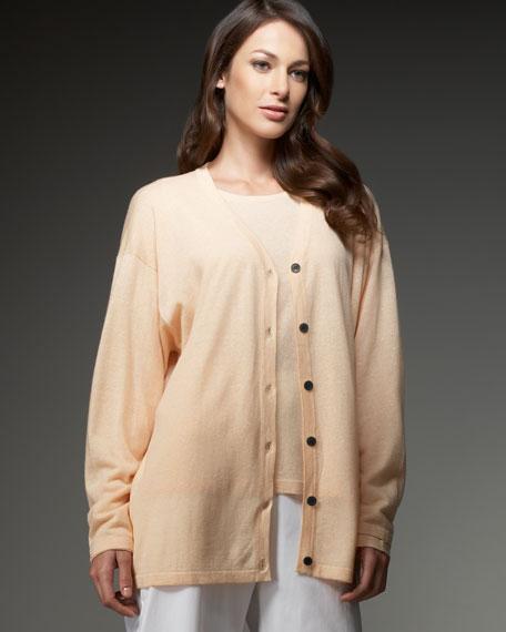 Cashmere-Linen V-Neck Cardigan