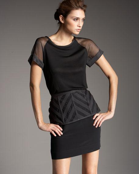 Crepe Organza-Peplum Skirt