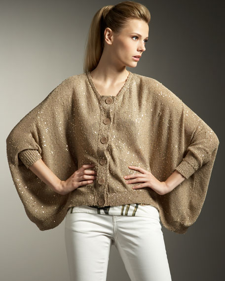 Sequined Cape Cardigan
