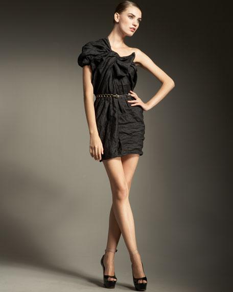 Twisted Washed-Satin Dress